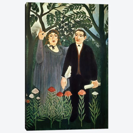 The Muse Inspiring The Poet, 1909 (Kunstmuseum Basel) Canvas Print #BMN6328} by Henri Rousseau Canvas Art
