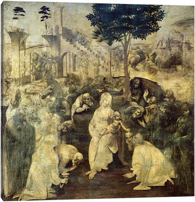 The Adoration of the Magi, 1481-2 by Leonardo da Vinci Canvas Art Print