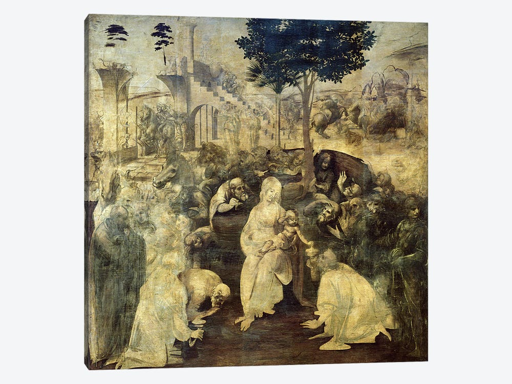 The Adoration of the Magi, 1481-2 by Leonardo da Vinci 1-piece Canvas Art