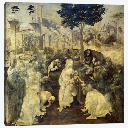 The Adoration of the Magi, 1481-2  Canvas Print #BMN632} by Leonardo da Vinci Canvas Art Print