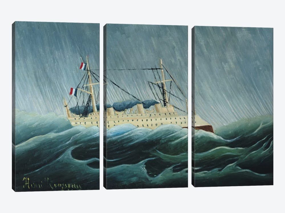The Storm-Tossed Vessel, c.1899 by Henri Rousseau 3-piece Canvas Art