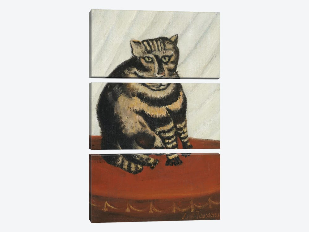 The Tabby by Henri Rousseau 3-piece Canvas Art Print