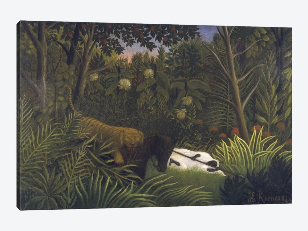 Tiger Attacking A Horse And A Sleeping Black Man by Henri Rousseau 1-piece Canvas Art Print