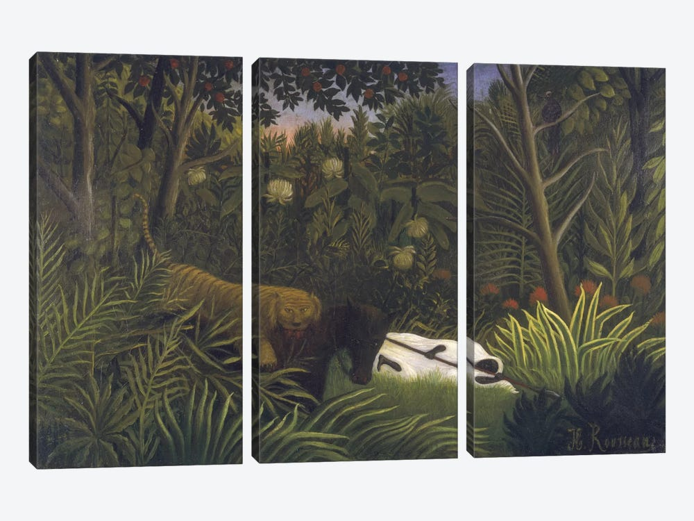 Tiger Attacking A Hores And A Sleeping Black Man by Henri Rousseau 3-piece Canvas Print