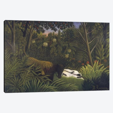 Tiger Attacking A Horse And A Sleeping Black Man Canvas Print #BMN6337} by Henri Rousseau Canvas Artwork