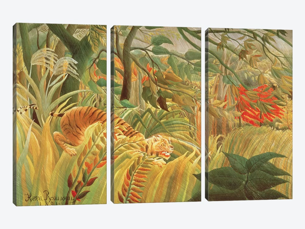 Tiger In A Tropical Storm (Surprised!), 1891 by Henri Rousseau 3-piece Canvas Wall Art