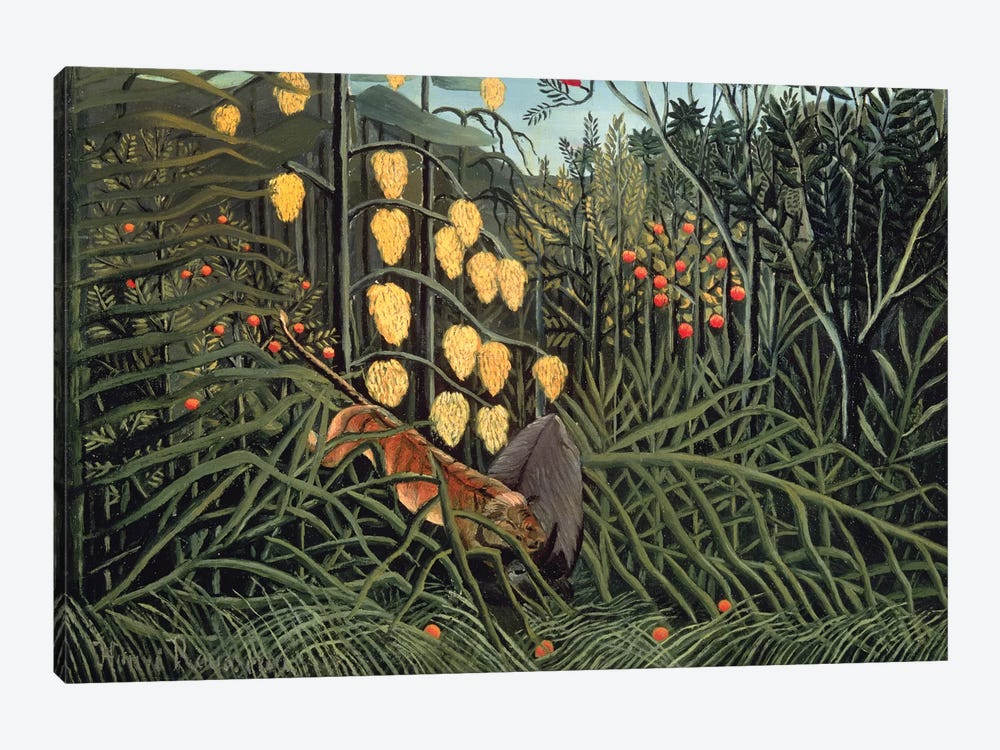Tropical Forest: Battling Tiger And Buffalo, 1908 by Henri Rousseau 1-piece Canvas Art Print