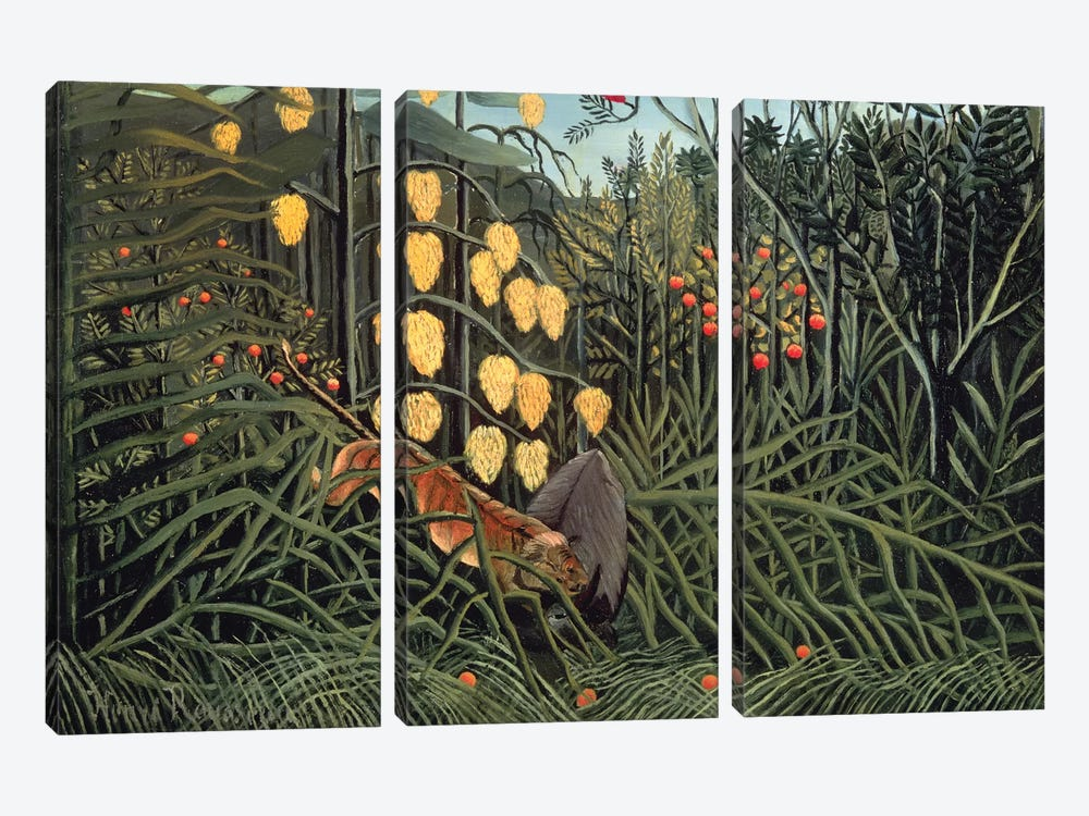 Tropical Forest: Battling Tiger And Buffalo, 1908 by Henri Rousseau 3-piece Canvas Print