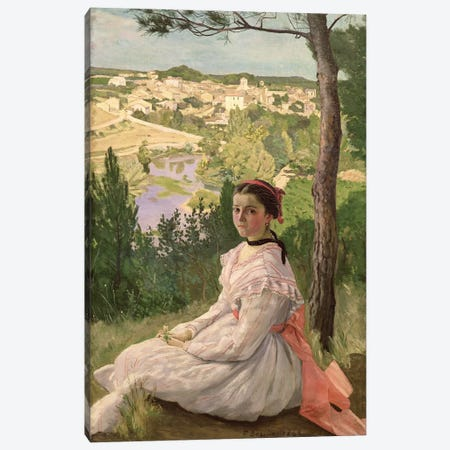 View of the village, Castelnau, 1868  Canvas Print #BMN633} by Jean Frederic Bazille Canvas Print