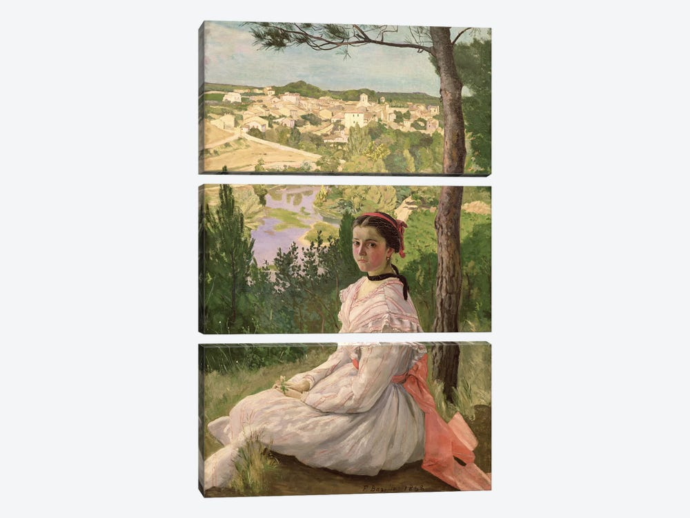 View of the village, Castelnau, 1868  by Jean Frederic Bazille 3-piece Canvas Art Print