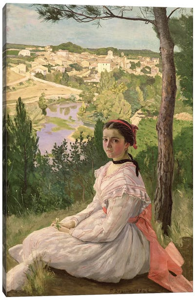 View of the village, Castelnau, 1868  Canvas Art Print