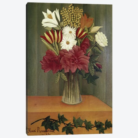 Vase Of Flowers Canvas Print #BMN6340} by Henri Rousseau Canvas Wall Art