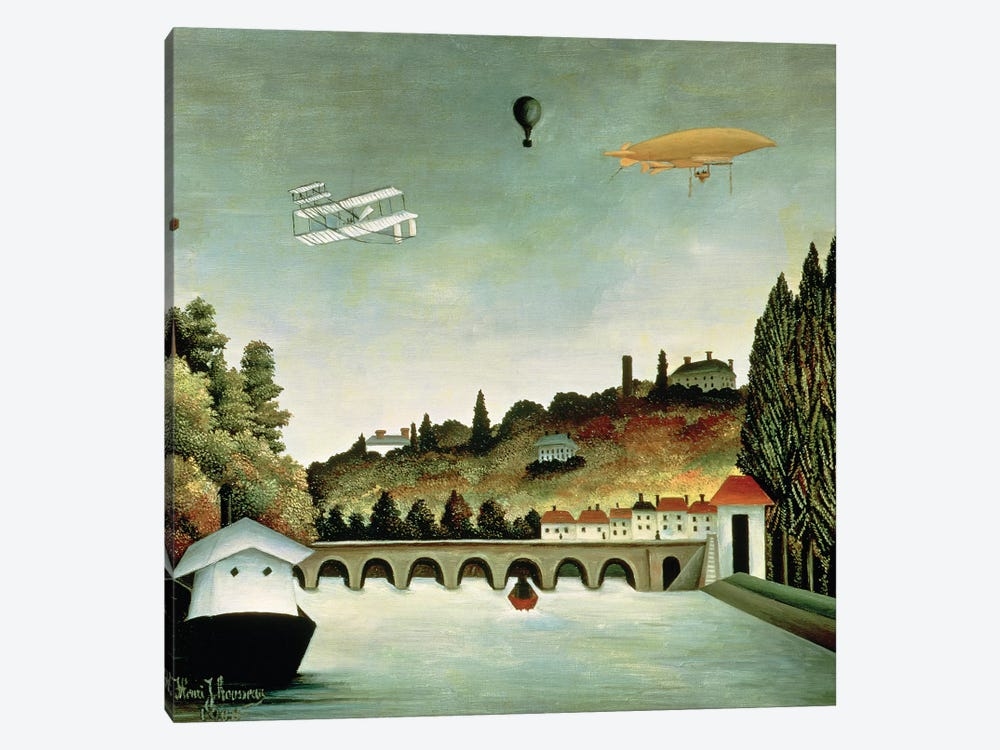 View Of The Bridge At Sevres And The Hills At Clamart, St. Cloud And Bellevue, 1908 by Henri Rousseau 1-piece Canvas Artwork