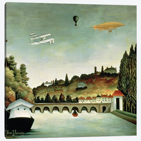 View Of The Bridge At Sevres And The Hills At Clamart, St. Cloud And Bellevue, 1908 Canvas Print #BMN6343} by Henri Rousseau Canvas Artwork