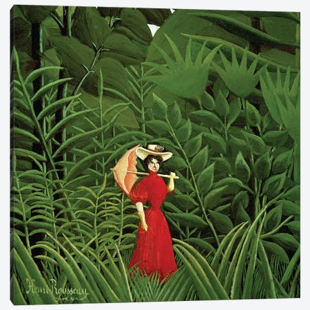 Woman In Red In The Forest, c.1907 Canvas Print #BMN6345} by Henri Rousseau Canvas Art Print