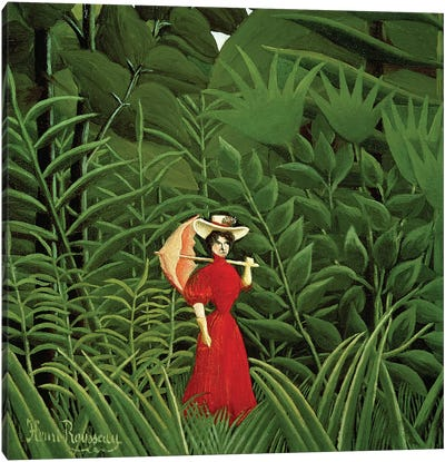 Woman In Red In The Forest, c.1907 Canvas Art Print