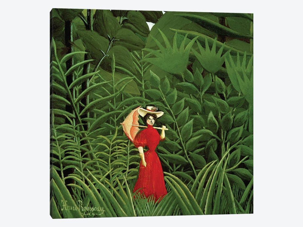 Woman In Red In The Forest, c.1907 by Henri Rousseau 1-piece Canvas Artwork