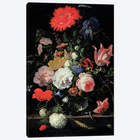 Flower-piece Canvas Print #BMN6346} by Abraham Mignon Canvas Print