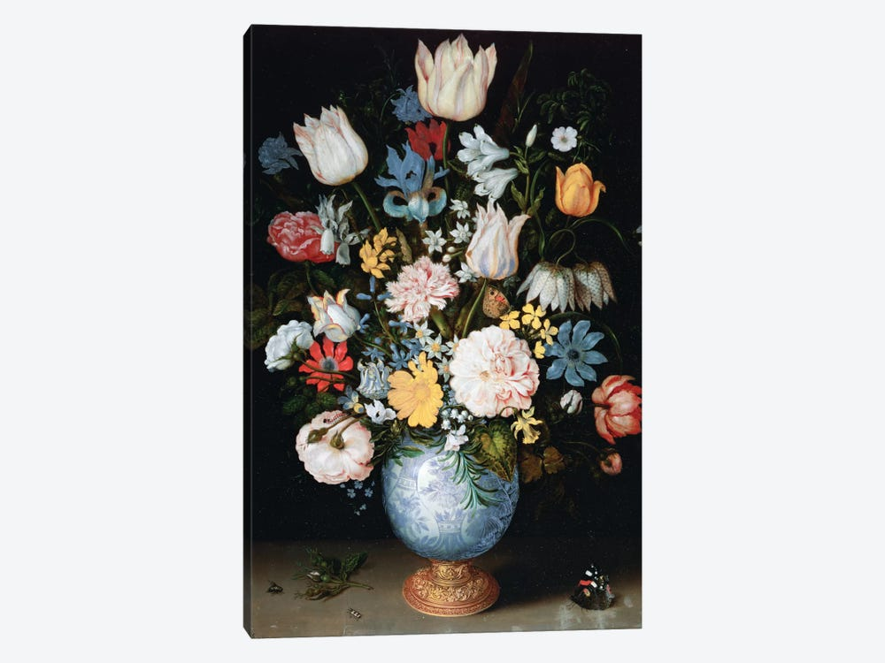 Bouquet Of Flowers, 1609 by Ambrosius the Elder Bosschaert 1-piece Canvas Wall Art
