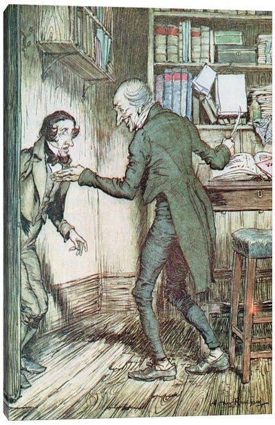 """Now, I'll Tell You What, My Friend,"" said Scrooge. ""I Am not Going To Stand This Sort Of Thing Any Longer."" (Illustration from Charles Dickens' A Christmas Carol) Canvas Print #BMN6348"