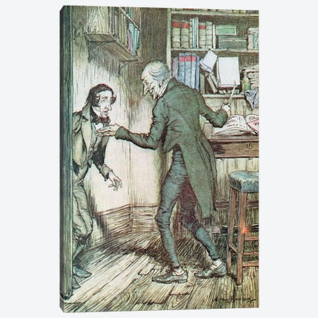 """""""Now, I'll Tell You What, My Friend,"""" said Scrooge. """"I Am not Going To Stand This Sort Of Thing Any Longer."""" (A Christmas Carol) Canvas Print #BMN6348} by Arthur Rackham Canvas Wall Art"""