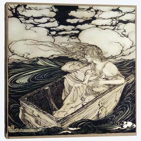 Danae And Her Son Perseus, 1903 Canvas Print #BMN6349} by Arthur Rackham Canvas Wall Art