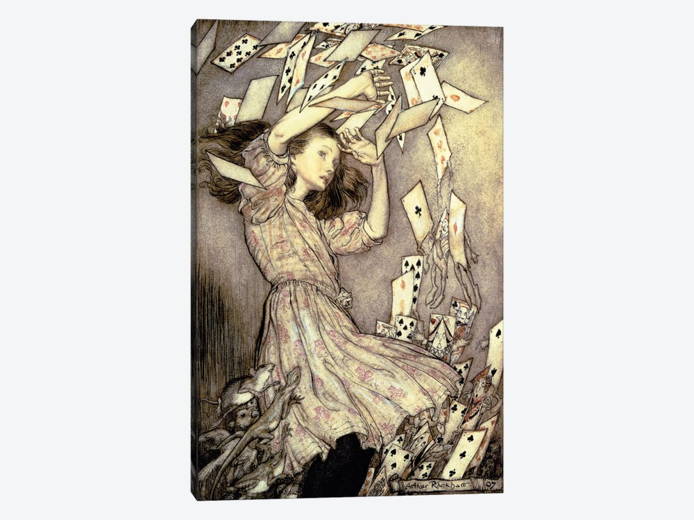 Alice And The Pack Of Cards (Illustration from Lewis Carroll's Alice's Adventures In Wonderland), 1907 by Arthur Rackham 1-piece Canvas Artwork