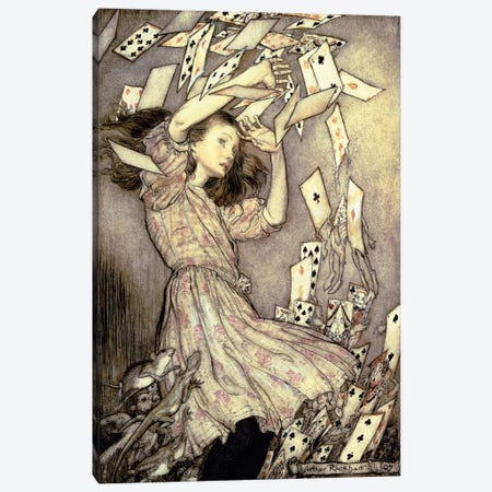 Alice And The Pack Of Cards (Illustration from Lewis Carroll's Alice's Adventures In Wonderland), 1907 Canvas Print #BMN6352} by Arthur Rackham Art Print