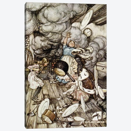 In The Duchess's Kitchen (Illustration from Lewis Carroll's Alice's Adventures In Wonderland), 1907 Canvas Print #BMN6353} by Arthur Rackham Art Print