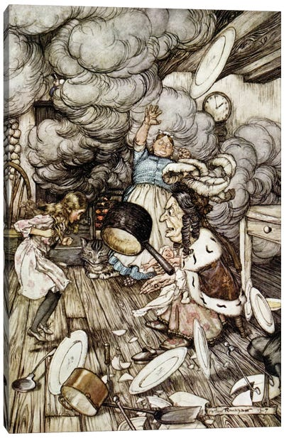 In The Duchess's Kitchen (Illustration from Lewis Carroll's Alice's Adventures In Wonderland), 1907 Canvas Print #BMN6353