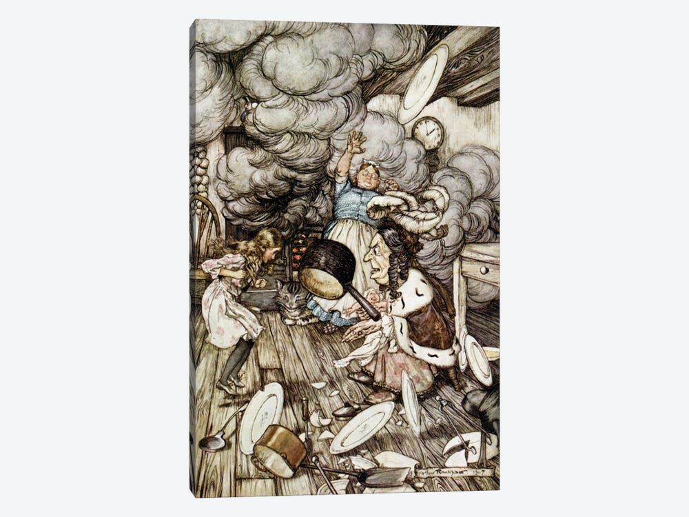 In The Duchess's Kitchen (Illustration from Lewis Carroll's Alice's Adventures In Wonderland), 1907 by Arthur Rackham 1-piece Canvas Print