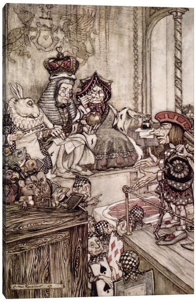 Knave Before The King And Queen Of Hearts (Illustration from Lewis Carroll's Alice's Adventures In Wonderland), 1907 Canvas Print #BMN6354