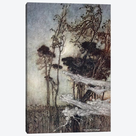 """… The Moon, Like To A Silver Bow New-Bent In Heaven"" (Illustration From William Shakespeare's A Midsummer Night's Dream), 1908 Canvas Print #BMN6355} by Arthur Rackham Canvas Art"