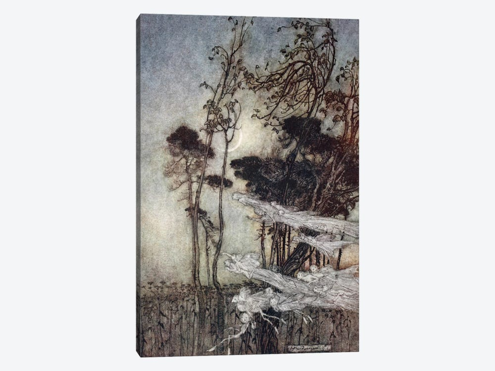 """… The Moon, Like To A Silver Bow New-Bent In Heaven"" (Illustration From William Shakespeare's A Midsummer Night's Dream), 1908 by Arthur Rackham 1-piece Canvas Art Print"