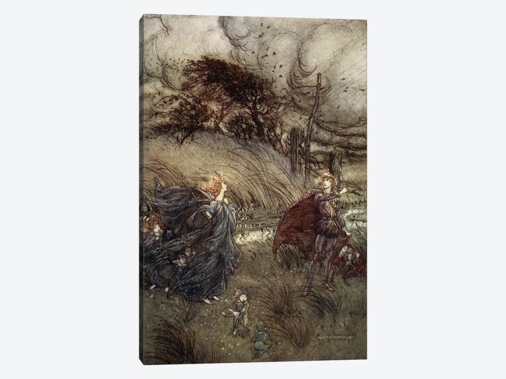 And Now They Never Meet In Grove Or Green, By Fountain Clear, Or Spangled Starlight Sheen, But They Do Square, 1908 by Arthur Rackham 1-piece Canvas Artwork