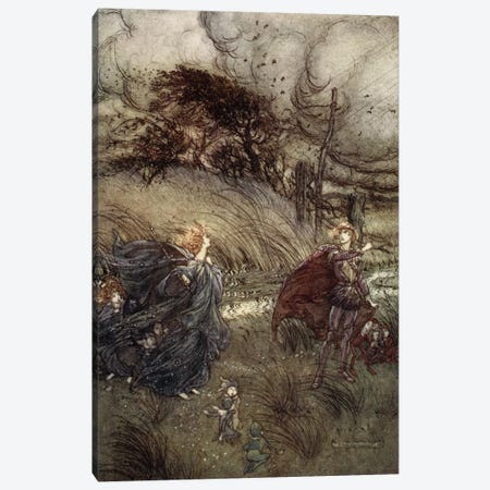 And Now They Never Meet In Grove Or Green, By Fountain Clear, Or Spangled Starlight Sheen, But They Do Square, 1908 Canvas Print #BMN6356} by Arthur Rackham Canvas Artwork