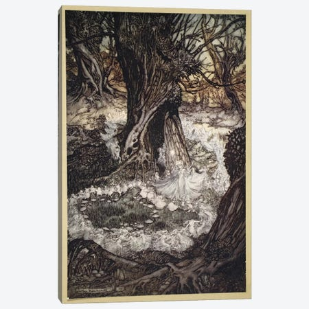 Come, Now A Roundel (Illustration From William Shakespeare's A Midsummer Night's Dream), 1908 Canvas Print #BMN6357} by Arthur Rackham Canvas Artwork