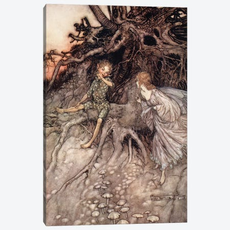 I Am That Merry Wanderer Of The Night (Illustration From William Shakespeare's A Midsummer Night's Dream), 1908 Canvas Print #BMN6358} by Arthur Rackham Art Print