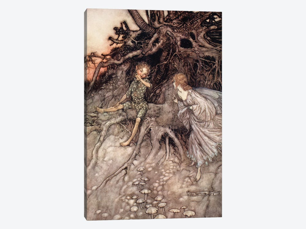 I Am That Merry Wanderer Of The Night (Illustration From William Shakespeare's A Midsummer Night's Dream), 1908 by Arthur Rackham 1-piece Canvas Art