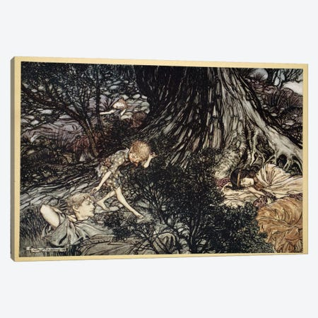 On The Ground, Sleep Sound. I'll Apply, To Your Eye, Gentle Lover, Remedy (From Shakespeare's A Midsummer Night's Dream), 1908 Canvas Print #BMN6359} by Arthur Rackham Art Print