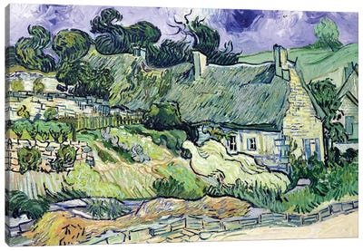 Thatched cottages at Cordeville, Auvers-sur-Oise, 1890  Canvas Art Print