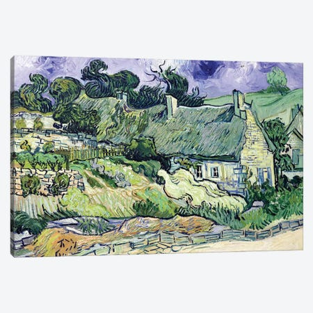 Thatched cottages at Cordeville, Auvers-sur-Oise, 1890  3-Piece Canvas #BMN635} by Vincent van Gogh Canvas Wall Art