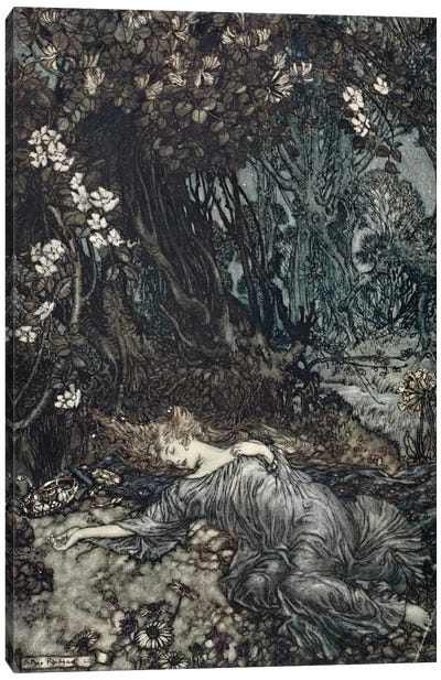 Tatiana Lying Asleep (Illustration From William Shakespeare's A Midsummer Night's Dream), 1908 Canvas Print #BMN6361