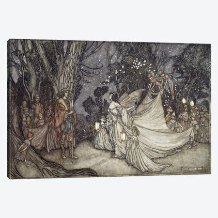 The Meeting Of Oberon And Titania (Unused Illustration From William Shakespeare's A Midsummer Night's Dream), 1908 Canvas Print #BMN6362} by Arthur Rackham Canvas Wall Art