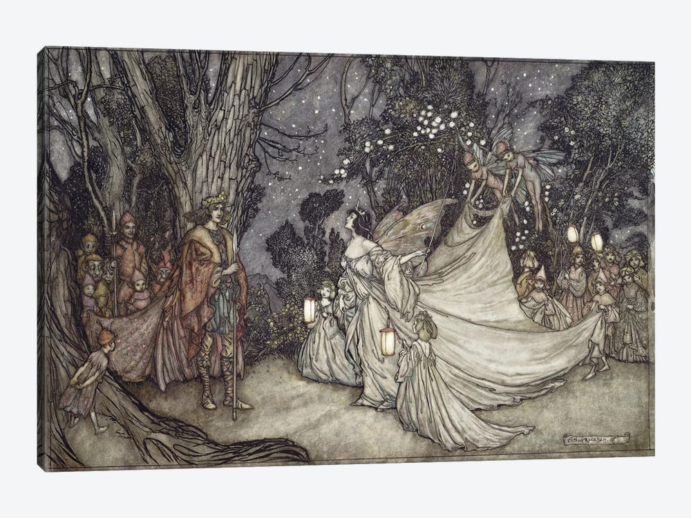 The Meeting Of Oberon And Titania (Unused Illustration From William Shakespeare's A Midsummer Night's Dream), 1908 by Arthur Rackham 1-piece Art Print