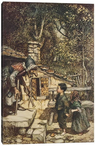 All At Once The Door Opened And An Old, Old Woman, Supporting Herself On a Crutch, Came Hobbling Out (The Brothers Grimm), 1909 Canvas Art Print