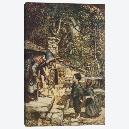 All At Once The Door Opened And An Old, Old Woman, Supporting Herself On a Crutch, Came Hobbling Out (The Brothers Grimm), 1909 Canvas Print #BMN6363} by Arthur Rackham Canvas Wall Art