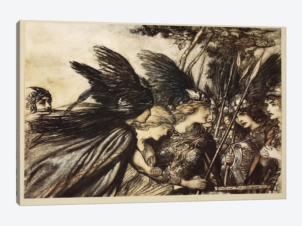 """""""I Flee For The First Time And Am Pursued, Warfather Follows Close … He Nears, In Fury! Save This Woman! Sisters, Your Help!"""" by Arthur Rackham 1-piece Canvas Art Print"""