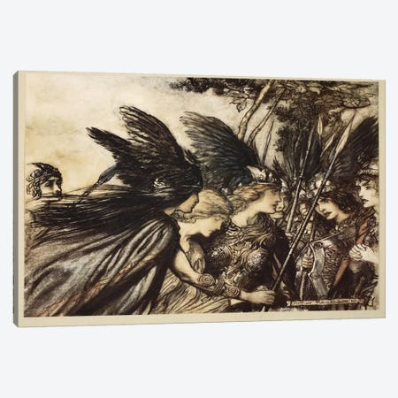 """""""I Flee For The First Time And Am Pursued, Warfather Follows Close … He Nears, In Fury! Save This Woman! Sisters, Your Help!"""" Canvas Print #BMN6364} by Arthur Rackham Canvas Print"""