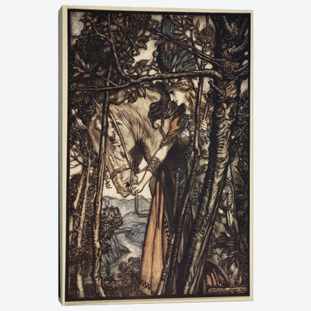 Brunnhilde Slowly And Silently Leads Her Horse Down The Path To The Cave (Richard Wagner's The Rhinegold & The Valkyrie), 1910 Canvas Print #BMN6366} by Arthur Rackham Canvas Art Print